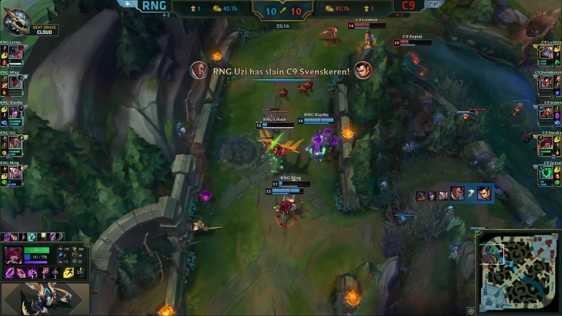 LOL S8战报:RNG加赛击败C9,以小组第一出线